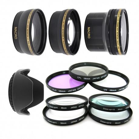 Kit 58MM UV CPL FLD + Macro + Fish Eye + Telephoto