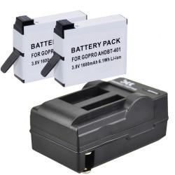 Chargeur pour GoPro. AHDBT-401 + Batterie Li-Ion